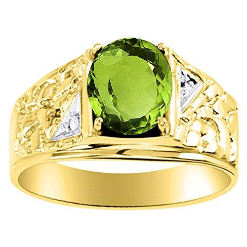 Diamond & Peridot Anillo 14K Amarillo o 14K oro blanco