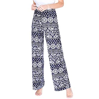 Buttery Soft Pajama Pants for Women – Floral Print Drawstring Casual Palazzo Lounge Pants Wide Leg for All Seasons (XL, Elephant) from