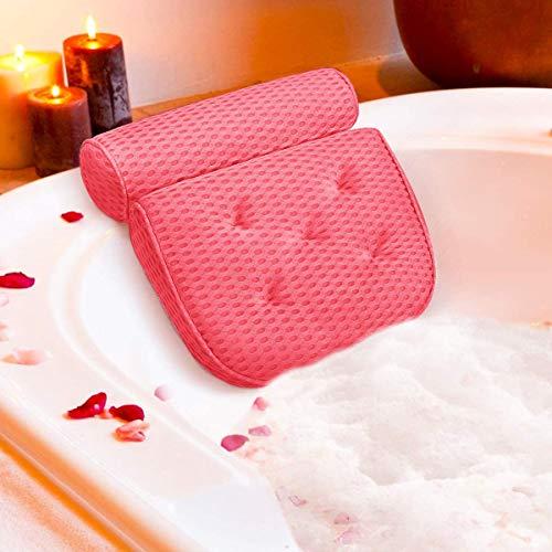 ESSORT Badewannenkissen,4D Air Mesh Technologie Komfort badewanne kopfkissen mit 5 Saugnäpfen Die verbesserte Version ist weicher und atmungsaktiver badewanne nackenpolste für Home Spa Whirlpools Rosa