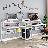 Tribesigns 94.5 inch Double Computer Desk with Storage Shelf, Extra Long Two Persons Desk with Printer Shelf, Large Office Desk Study Writing Table for Home Office (White)