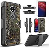 Circlemalls Compatible for Moto Z2 Force Case, Moto Z2 Force Droid Case, with [Tempered Glass Screen Protector Included], Armor Heavy Duty Kickstand Cover with Belt Clip Holster - Camo