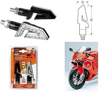Aprilia RX 50 1998-2002 - Par de Intermitentes para Moto de LED 12 V - Bombilla 90246 homologadas Negras - Indicador de Lente Blanca y luz Naranja