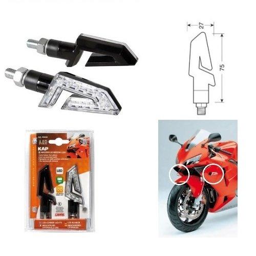 Compatibel met meerdere Multiistrada 1000 S DS paar knipperlichten voor motorfiets met LED 12 V lamp, 90246 toelating in zwart LENZE WIT Light Oranje