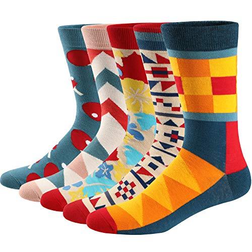 Ueither Lustigen Herren Socken Bunte Gemusterte Baumwolle Socken (42-48, Farbe 7)