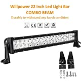 Willpower 56cm 120W Barra Led 4x4 Barra Led Coche IP67 Impermeable Faro Led Focos Led 12v 6000k Barras de Luz Led para Tractor SUV ATV UTV Off-road