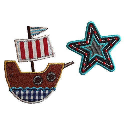 10X9Cm Barco Pirata Divertida presentación de estrella de cinco astas con costuras azul vibrantes y puntos rojos para decorar Barco a la mar, con diferentes telas y colores para complementar el sello. Divertida presentación de estrella de cinco astas con costuras azul vibrantes y puntos rojos para decorar
