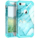 Hocase iPhone 8 Case iPhone 7 Case, Shockproof Protection Heavy Duty Hard Plastic+Silicone Rubber Bumper Full Body Protective Case for iPhone 8, iPhone 7 (4.7-Inch Display) - Miami Blue Marble