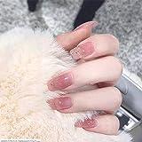 DCJ 24pcs / Set de uñas postizas Completas Europeas Rosa diseño Largo uñas postizas con Brillo Dorado Belleza Novia Consejos de Arte de uñas completos con Agua