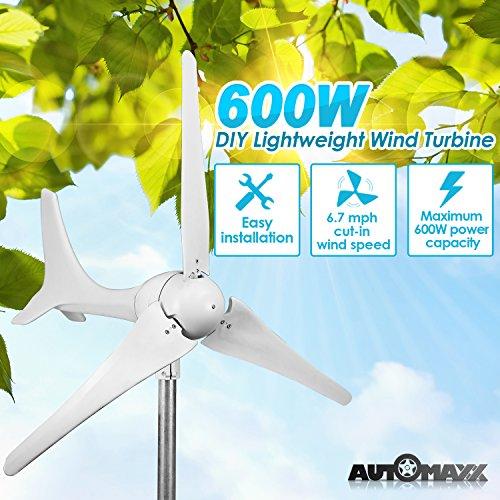 Unbekannt Automaxx Windmühle 600 W (12V / 24V) (50A / 25A) Windturbinen-Generator-Kit MPPT Laderegler inklusive (Amp-, Volt- & Watt-Anzeige) + automatisches und manuelles Bremssystem Selbstmontage