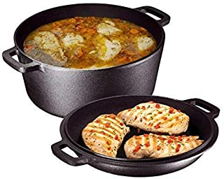 Heavy Duty Pre-Seasoned 2 In 1 Cast Iron Double Dutch Oven and Domed Skillet Lid, Versatile Healthy Design, Non-Stick, 5-Quart