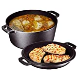 Heavy Duty Pre-Seasoned 2 In 1 Cast Iron Double Dutch Oven and Domed Skillet Lid, Versatile Healthy...
