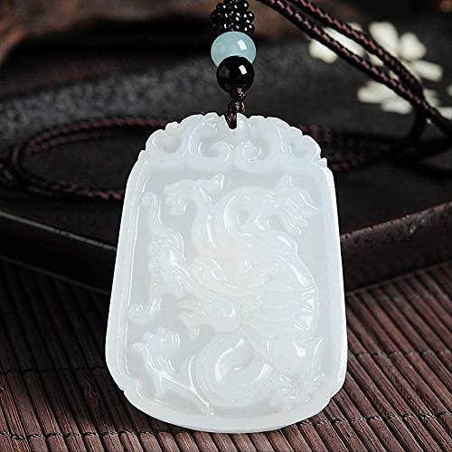 ZYLZL Colgante de dragón de jade blanco natural, collar de jadeíta, joyería con dijes, accesorios de moda, tallado a mano, amuleto de la suerte para hombre, regalos
