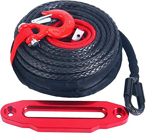 """YaeKoo Black 92ft x 1/2"""" Synthetic Winch Rope Line Cable w/Protective Sleeve + RED Hook +10"""" RED Hawse Fairlead Kit Compatible with Jeep ATV UTV SUV Truck Replacement"""