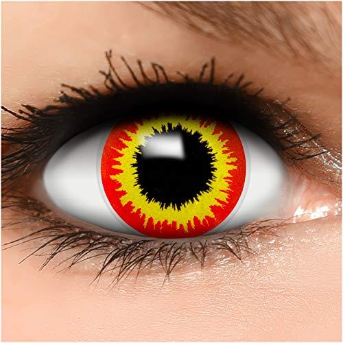 Farbige Kontaktlinsen Ork in rot gelb + Behälter - Top Linsenfinder Markenqualität, 1Paar (2 Stück)