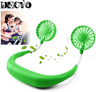 Hand Free Personal Fan - Portable USB Battery Rechargeable Mini Fan - Headphone Design Wearable Neckband Fan Necklance Fan Cooler Fan with Dual Wind Head for Traveling Outdoor Office Room (Green)