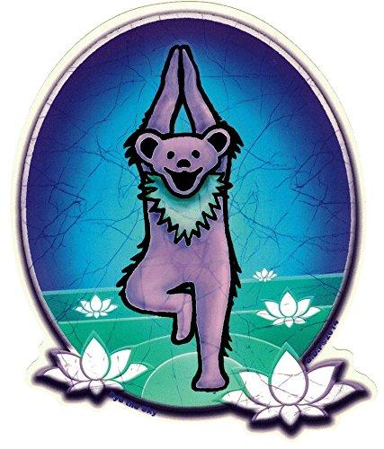 Dye the Sky Grateful Dead Dancing Bear as Yoga Bear - Window Sticker / Decal (4.75' X 6')