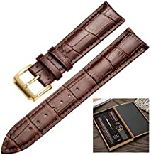 Premium Smart-Watch Band Strap Top Grain Genuine Real Leather Replacement Belt Wristband Buckle for Men Women Quick Release Bracelet by CHAMPLED (Solid Brown Strap - Golden Color Buckle, 20mm)