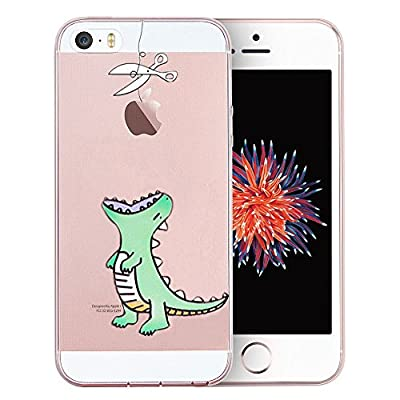Unov Case for iPhone SE (2016) iPhone 5s iPhone 5 Clear with Design Embossed Pattern TPU Soft Bumper Shock Absorption Slim Protective Back Cover 4 Inch (Mint Dinosaur)