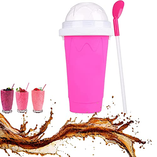 Slushy Maker Squeeze Cup Slushy Maker DIY Homemade Smoothie Cups Freeze Drinks Cup Double Layer Summer Juice Ice Cream Cup Pink
