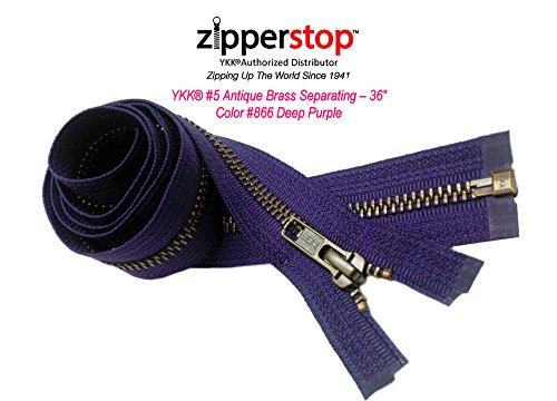 YKK- 36 Inch Jacket Zippers YKK #5 Antique Brass- Metal Teeth Separating for Crafter's Special Color Deep Purple # 866 Made in USA