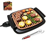 Nonstick Electric Indoor Smokeless Grill - Portable BBQ Grills with Recipes, Fast Heating, Adjustable Thermostat, Easy to Clean, 16' x 11' Tabletop Square Griddle with Oil Drip Pan