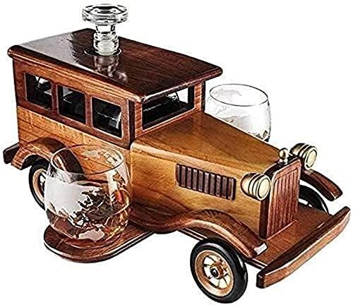 Feeyond Decantador De Whisky Set Regalo 1000Ml, con 2 Copas De Whisky De Cristal Y Marco Vintage, Muy Adecuado para Vodka, Vino Blanco Y Whisky