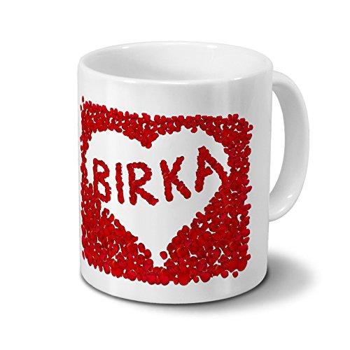 Tasse mit Namen Birka - Motiv Rosenherz - Namenstasse, Kaffeebecher, Mug, Becher, Kaffeetasse - Farbe Weiß