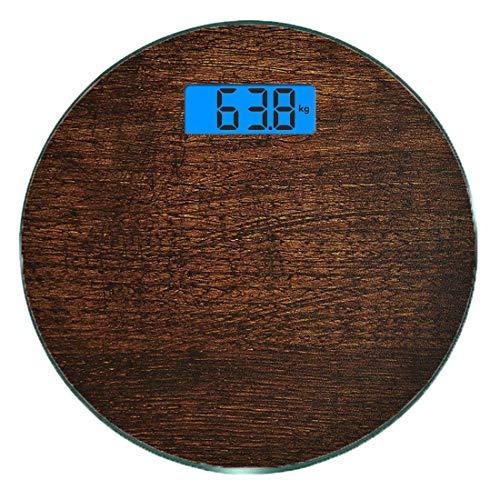 Escala digital de peso corporal de precisión Ronda Decoración de madera Báscula de baño de vidrio templado ultra delgado Mediciones de peso precisas,Madera vieja Vintage antiguo fondo de roble piso rú