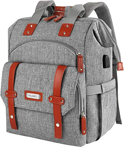 Laptop Backpack 15.6 Inch Computer Backpack Doctor Teacher Bag,Wide Top Open College School Water Resistant Business Work Travel Casual Daypack Shoulder Bag with USB Charging Port for Women Men