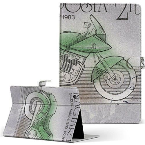 igcase KYT33 Qua tab QZ10 キュアタブ quatabqz10 手帳型 タブレットケース カバー レザー フリップ ダイアリー 二つ折り 革 直接貼り付けタイプ 010334 乗り物 バイク 切手