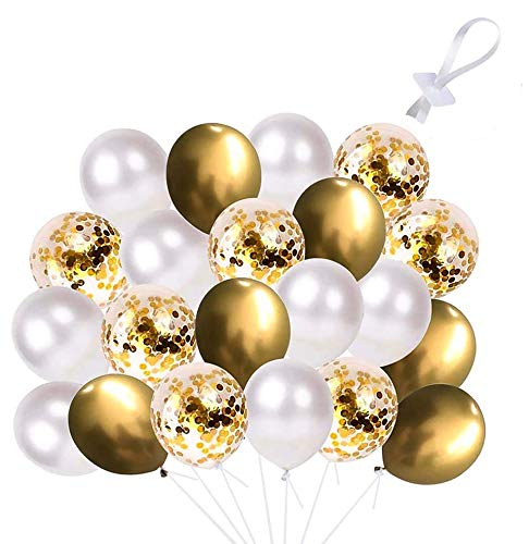 JOYGOGO 120 Stück Luftballon Set, 60 Stück Luftballons 60 Stück Ballonverschlüsse, Golden Konfetti Ballons Golden Latex Ballons Weiß Ballons Set für Geburtstag, Hochzeit, Babyparty, Dekoration