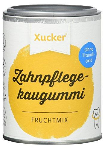 Xucker Zuckerfreie Zahnpflegekaugummis mit Xylit, Frucht-Geschmack, ohne Titandioxid, vegan, 2er Pack (2x 100 g Dose)