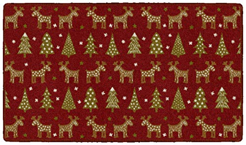 Brumlow MILLS Holiday Delight Washable Festive Christmas Trees and Reindeer Indoor or Outdoor Holiday Rug for Living or Dining Room, Bedroom and Kitchen Area, 30'x46', Red, EW20561-30X46BH