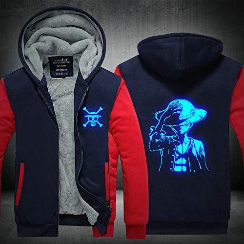 Spricen One Piece Anime Hoodie Sweat à Capuche Homme Zippé Veste Sweatshirts à Capuche Ado Garcon Cosplay Plus Épais Chaud Hiver Sweat-Shirt Veste 4XL