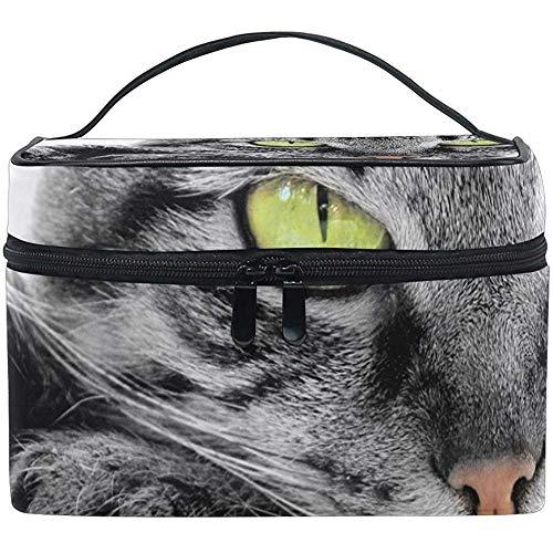 Organisateur de stockage de cas de train de maquillage de voyage de sac cosmétique de chat aux yeux verts