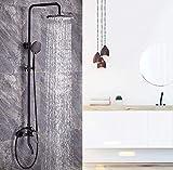 Mezclador de ducha Baño Negro Cobre antiguo Bolsa de ducha Montaje en pared Cabezal de ducha Cabezal de ducha Grifos de ducha Conjuntos Cascada de chorro cuadrado superior de 8 pulgadas