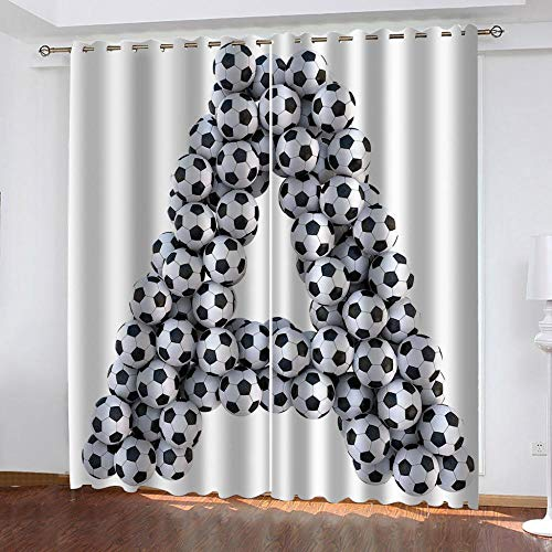 Agvvseso Curtains Blackout Creative football letter A 3D printed 100% Super soft micro fiber Thermal Insulated Noise Reduction eyelet curtains for Teenagers Bedroom Living Room Home Decoration 2 tab