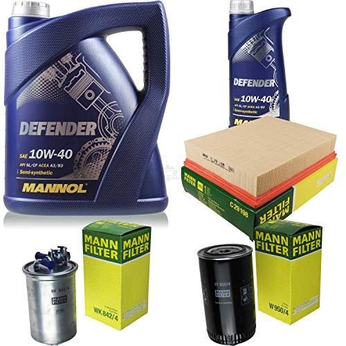 Filter Set Inspektionspaket 6 Liter MANNOL Motoröl Defender 10W-40 API SL/CF MANN-FILTER Luftfilter Ölfilter Kraftstofffilter