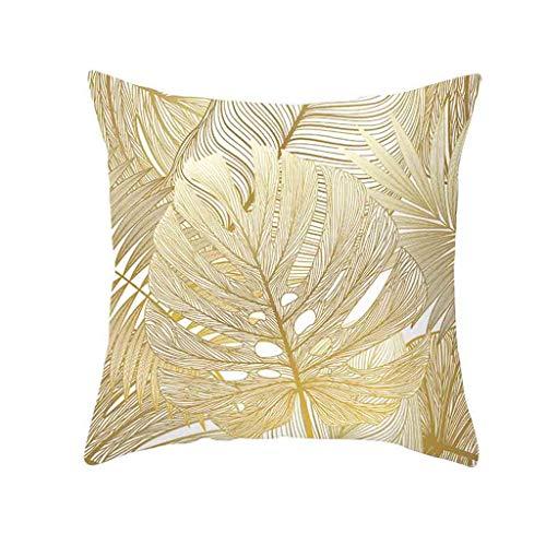 UYSDF Gold Pflanze Gedruckt Polyester Kissen Fall Abdeckung Sofa Polster Abdeckung Zuhause Dekor,45 * 45 cm Kissenbezug