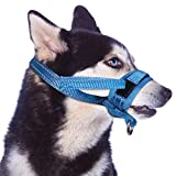 SlowTon Nylon Dog Muzzle, Dog Mouth Cover Adjustable Soft Padded Quick Fit Comfortable Muzzles for Medium Large Dog Outdoor Anti Biting Behavior Training Stop Chewing Barking Attach to Collar (L, BL)