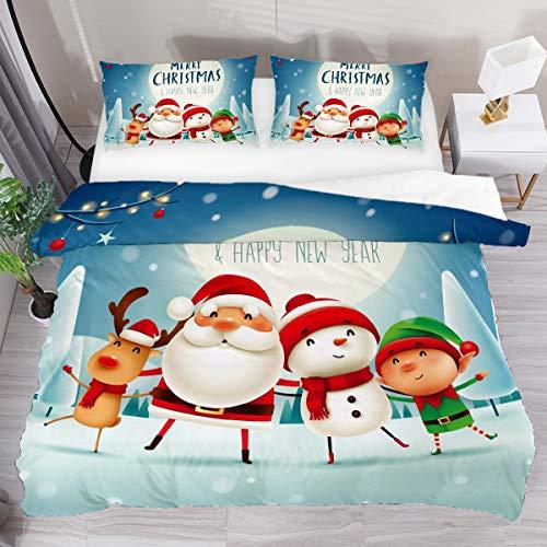 GanLongDian Duvet Cover Set Bedding Quilt Cover for Men Women,Bedding Set Gift,Comforter Cover and Pillowcase,Single Full Double King Size Santa Deer