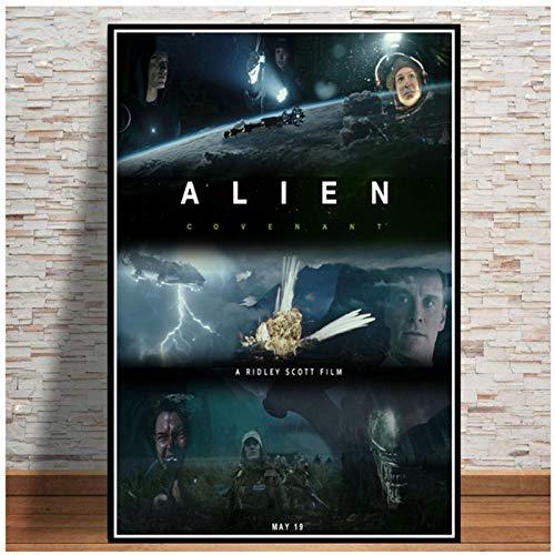 wzgsffs Alien 1979 Sci Fi Horror Movie Posters and Prints Arte De Pared Impresión En Lienzo para Sala De Estar Hogar Dormitorio Decorativo-24X32 Pulgadas X 1 Sin Marco
