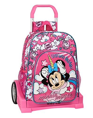 Mochila Safta 180 Espalda Ergonómica con Carro Safta Evolution de Minnie Mouse, Multicolor