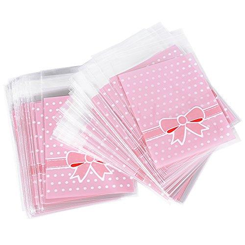 (8 * 10cm + 3cm) 200pz Sacchetti Plastica Piccoli Rosa Sacchettini Bustine Trasparenti Confezioni per Regalo Confetti Battesimo Nascita Compleanno
