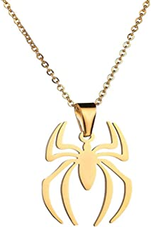 Lightweight Surgical Stainless Steel Spider Pendant Necklace Charm Spider Man Clavicle Necklace