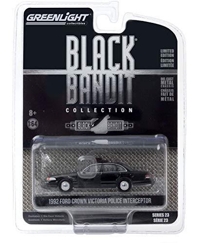 Greenlight 1:64 Black Bandit Series 23-1992 Ford Crown Victoria Police Interceptor - Black Bandit Police 28030-E