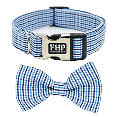 Fourhorse Cute Soft Dog with Bowtie, Detachable Adjustable Bow Tie Collar Pet Gift