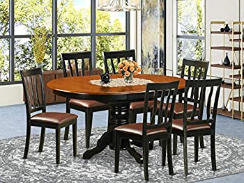 East-West Furniture 7-Pieces Nook Kitchen Table Set PU Leather wood chairs – Black and cherry Finish Hardwood Butterfly Leaf Pedestal Modern Dining Table and Frame