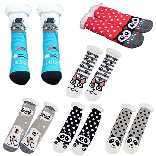 MEISHU 6 paia di Slipper Socks, Thermal Socks Women's, Plush Lining Fuzzy Socks, calze a pantofola donna antiscivolo, Winter Fuzzy Slipper