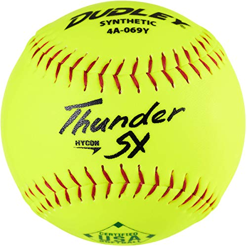 Dudley12 USASB Thunder Hycon Slowpitch Synthetic Softball - 12 Pack